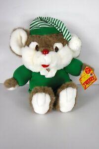 """Vintage 1991 Commonwealth Mouse Plush Ear Tweaks Squeaks Green Christmas 12"""""""