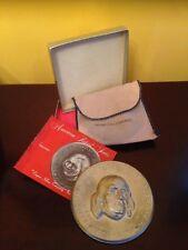 Commemorative BEN FRANKLIN Pewter Plate Bicentennial w/original packaging!