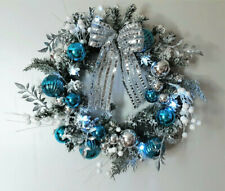 """Lighted Blue Silver Snow Frosted Evergreen Christmas Wreath Door Wall Decor 18"""""""