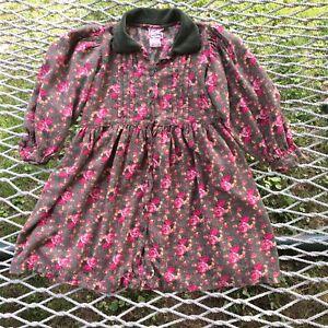 Cornelloki Girl's Dress Sz 6 Sage Green Floral Long Sleeve April Cornell Pockets