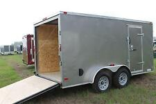 7x14 Enclosed Cargo Trailer V Nose Tandem Dual Axle Utility Motorcycle 16 Call