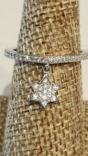 925 STERLING SILVER & PAVE CZ DANGLING STAR OF DAVID STACKING  RING SIZE 8