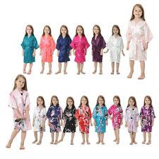 Silk Satin Flower Girls Child Kimono Robe Nightwear Wedding Gown dressing 4-12#