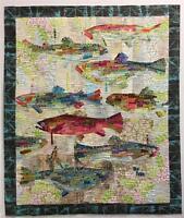 Flaura Fiberworks Pattern by Laura Heine ' Making Fish' Applique Collage