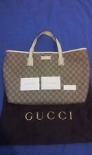 b3f79477d Authentic Gucci GG Supreme canvas white leather tote shoulder bag (211137)