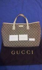 Authentic Gucci GG Supreme canvas white leather tote shoulder bag (211137)