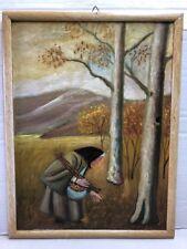 Quadro Antico Olio su Pannello Dipinto PAESAGGIO 30x40 O. Francesconi + cornice