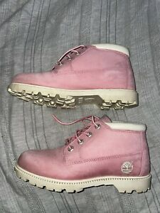 Timberland NELLI Chukka PINK Leather Waterproof Lace Ankle Boots Women's 8.5