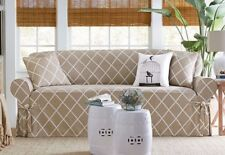 NEW  Lattice Pattern sure fit Cotton blend SOFA  Slipcover, Tan