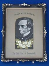 Disraeli Silk Picture   Political Commemorative British Prime Minister Grant's