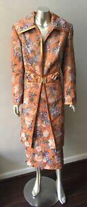Couture 2 piece Jacquard floral Paisley formal Midi Long Jacket Skirt Suit 12