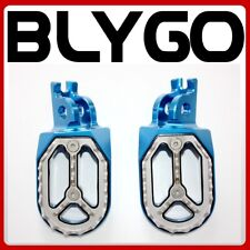 CNC BLUE Stainless Footpeg Foot Pegs Rest Pedal FX208 CRF250 MX MOTORCYCLE BIKE