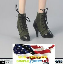 1/6 scale women shoes short green boots lace up for phicen kumik ❶US Seller❶