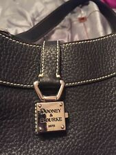Dooney and Bourke Vintage Black Pebbled Leather Purse with Silver Hardware
