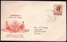 Australia 1951KGVI  3 1/2d Brown KUFNER FDC FITZROY NTH VIC CDS to NEYYOOR INDIA