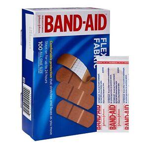 "100 Johnson & Johnson Adhesive Strips Band-Aids Tan BandAids 1x3"" 10381370044441"