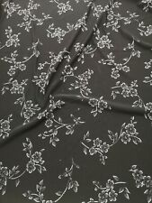 4 Meter lovely floral black silver flower lucie fabric