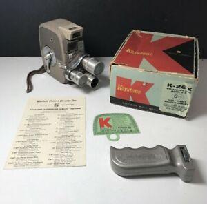 VINTAGE 1950s KEYSTONE K-26 TRIPLE LENS TURRET MOVIE CAMERA w/box & Works