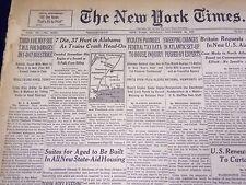 1951 NOV 26 NEW YORK TIMES - 7 DIE, 37 HURT IN ALABAMA TRAIN CRASH - NT 2000