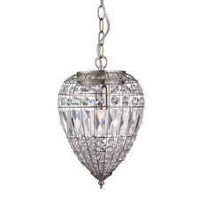 Searchlight 3991SS Moroccan Satin Silver Pendant Light Crystal Glass Buttons