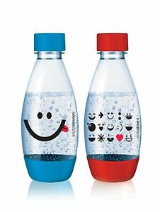 SodaStream 2 X Carbonating Red & Blue Bottles 0.5L Liter EXPIRE in 3 YEARS BPA