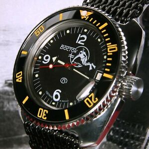 Vostok Amphibia 'Scuba Dude' Custom Russian Auto Dive Watch, New, UK seller
