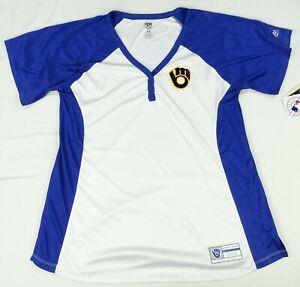 Milwaukee Brewers MLB Majestic Women's Plus Three Button T-Shirt