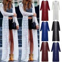 Women's Summer Open Front Jacket Coat Lace Crochet Long Maxi Cardigan Plus Size