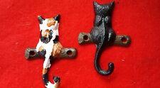 2 Handpainted Cast Iron Cat Wall Hooks Hanger Key Holder Kitten Kitty Blk Calico