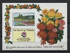 FRANCE, SOUVENIR SHEET FLOWERS (SALON DU TIMBRE) 1994 IMPERFORATED MNH