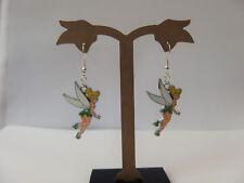 Silver Tone Enamel Tinkerbell (Peter Pan) Disney Princess Earrings