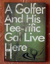 """""""  Golfer  and  his  Gal . . """"   Rustic  Wood  Wall  Plaque    BRAND NEW"""