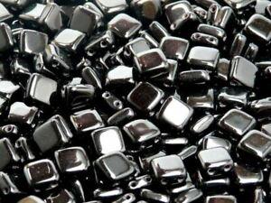 CHOOSE COLOR! 40pcs 6x6x2.9mm 2-hole Tile Flat Square Beads Czech Pressed Glass