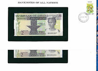Banknotes of All Nations Ghana 1982 2 Cedis  P-18d UNC Prefix BG 2 Consecutive