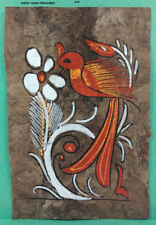 VINTAGE AMATE BARK PAPER PAINTING 5.50 x 3.75 INC COLOR on BROWN FROM MEXICO #26