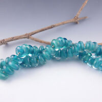 Indian Ocean - 8 Handmade Lampwork Glass Beads, SRA Artist made Beads
