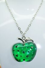 GREEN APPLE TRANSLUCENT COLOR CRYSTAL PENDANT CHAIN LONG NECKLACE JEWELRY S12