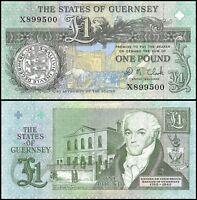 Guernsey 1 Pound, 1991, P-52c, UNC, DM Clark