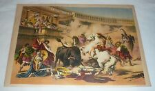 1878 chromo chromolithograph lithograph ~ BULLFIGHT IN OLD ROME