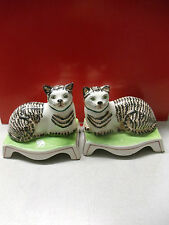 Vintage A Pair of Mattahede Design Ceramic Hand Painting Cats, Made in Italy