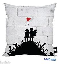 """BANKSY LOVE NOT WAR DESIGN CUSHION GREAT GIFT IDEA 18"""" X 18"""""""