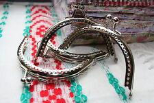 8.5 cm Silver Coin Bag Evening Purse Metal Frame Kiss Clasp lock