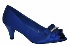 Satin Blue Diamante Mid Heel Wedding Bridal Prom Evening Shoes 3 4 5 6 7 7.5 8