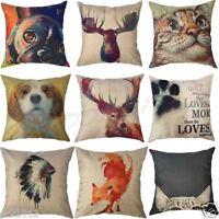 Vintage Animal Linen Throw Pillow Case Waist Car Cushion Cover Home Sofa Decor