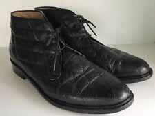 COLE HAAN Black Leather Quilted Lace Up Booties 6.5 Made In Italy
