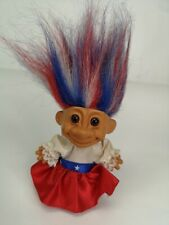 """Vintage 5"""" Red, Blue and White haired Troll"""