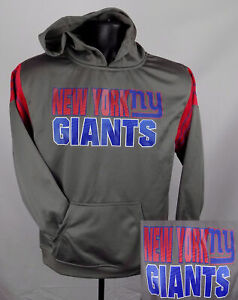 New York Giants Sweatshirt Boy's Large (12 - 14) Gray Logo Hoodie New ST117