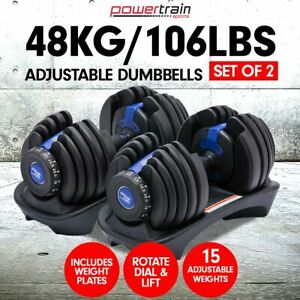 Powertrain 48KG Adjustable Dumbbell Set Home Gym Exercise Equipment Weights Blue
