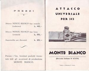"""Pieghevole illustrato di """"Attacco universale per sci Monte Bianco"""" anni '30-'40"""