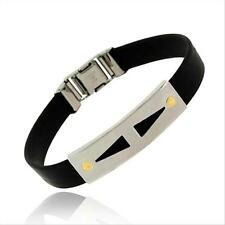 Stainless Steel 18K Gold Screws Rubber Mens Bracelet